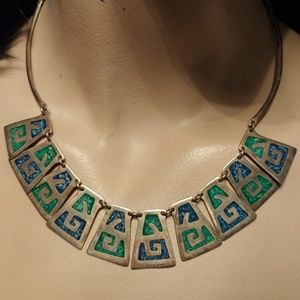 Vintage Aztec design blue&green turquoise necklace